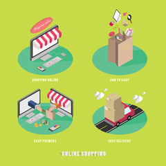 online internet shopping isometric icons set vector