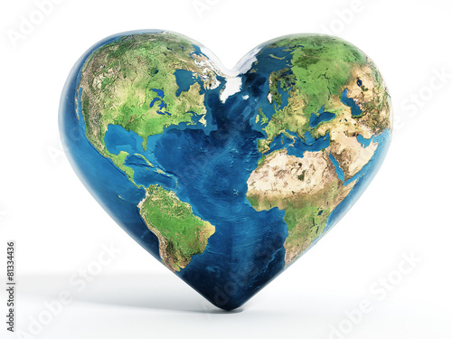 Fototapeta Heart shaped earth
