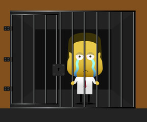 Vector illustration of a businessman in jailed