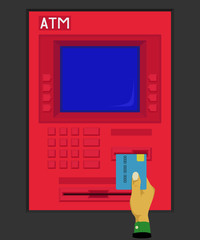 Inserting debit card in atm
