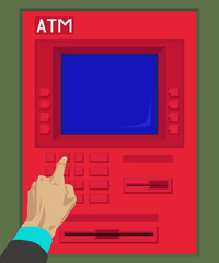Human hands pressing keys of atm