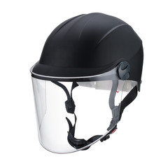 Transparent glass mask dark gray motorcycle helmet isolated on w