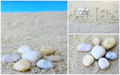 """montage """"c'est l'été"""" plage et galets"""