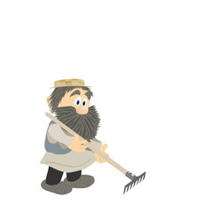 Man with a rake