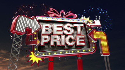 Sale sign 'Best Price' in led light billboard promotion.