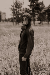 Man in gas-mask