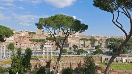 View from Capitol Hill, Via dei Fori Imperiali. Rome, Italy