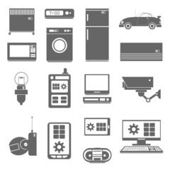Internet things icons set black