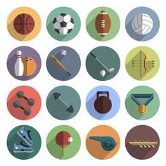 Sport icons set shadow flat