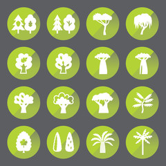 Trees circle icon set. Silhouette.