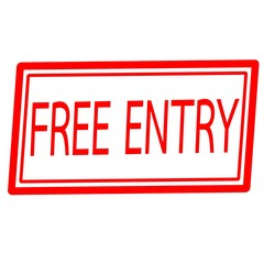 Free entry red stamp text on white