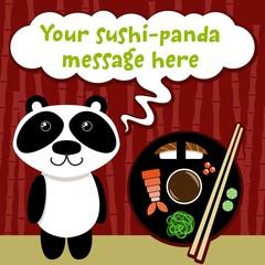 Panda with Sushi on Bamboo Background