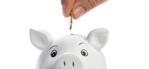 insert coin in a piggy bank, isolated on white
