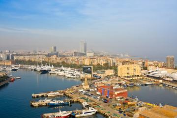 Barcelona and Mediterranean Sea in sunny day. Catalonia, Spain