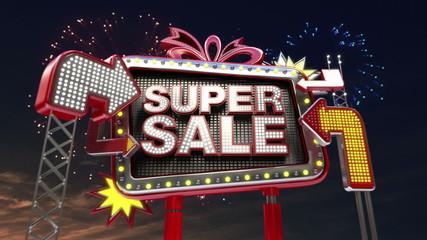 Sale sign 'Super Sale' in led light billboard promotion