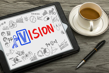 vision concept handwritten on tablet pc