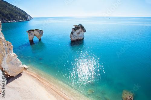 Leinwanddruck Bild Italian coast (Baia delle Zagare beach, Gargano)