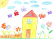 Child drawing of a house - 81340003