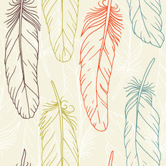 Seamless pattern of hand drawn feathers