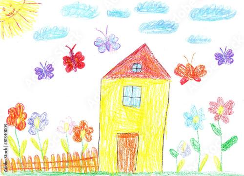 Leinwanddruck Bild Child drawing of a house
