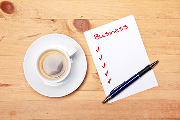 business checklist - coffee - office - at work