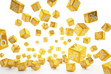 falling percent cubes orange