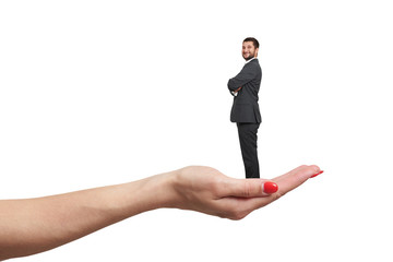 female palm holding small happy businessman