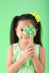 Asian girl with candy