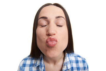 portrait of kissing woman