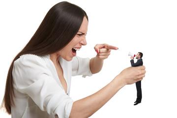 woman holding small man
