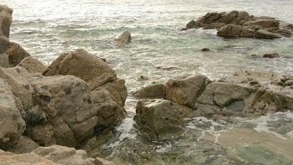 Virgin Mediterranean Beach Rocks at Sunrise