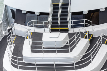 Black and White Decks and Railings on Ship
