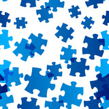 Seamless pattern with blue puzzle