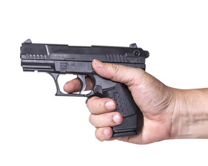 hand holds gun isolated on white background.
