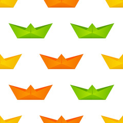 Seamless pattern with paper boats
