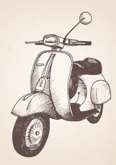 Hand drawn retro scooter. Vector