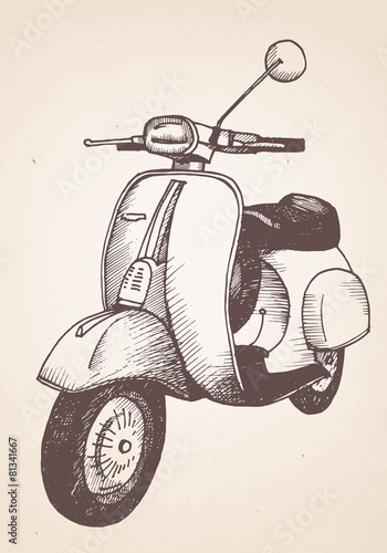Hand drawn retro scooter. Vector - 81341667