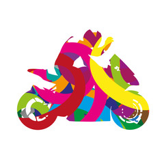 Abstract colorful motorcycle rider