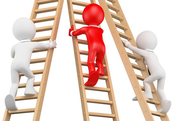 3D white people. Businessmen climbing a wooden ladder