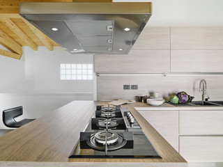 foreground of  cooker in a modern kitche