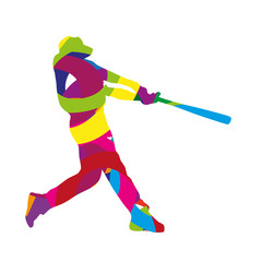 Abstract colorful baseball batter