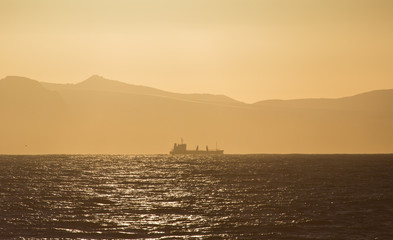 Cargo Ship at sunset