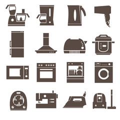 Home appliances, electronics icons.