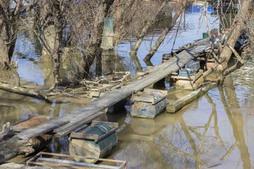 Bridge for wooden houseboat