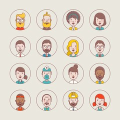 Flat style male and female avatars, vector illustrations