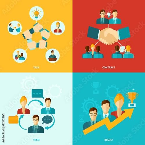 Teamwork Icons Flat - 81342400
