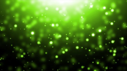 Moving green particles. Animation background.