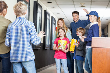 Man Calling Children At Cinema