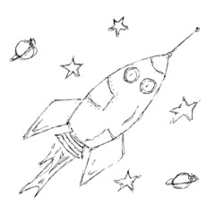 Hand drawn pen and ink style illustration of a space rocket