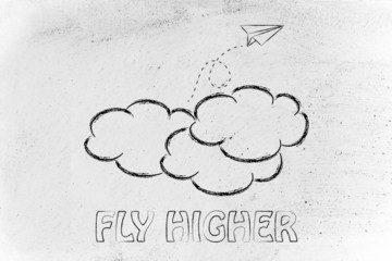 fly higher illustration with paper airplane, metaphor of success